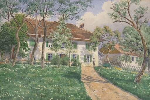 Jean WOLF - Drawing-Watercolor - Landhaus mit Figuren