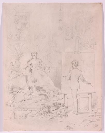 "Angelo TRENTIN - Dibujo Acuarela - ""Artist in His Studio"", Drawing"