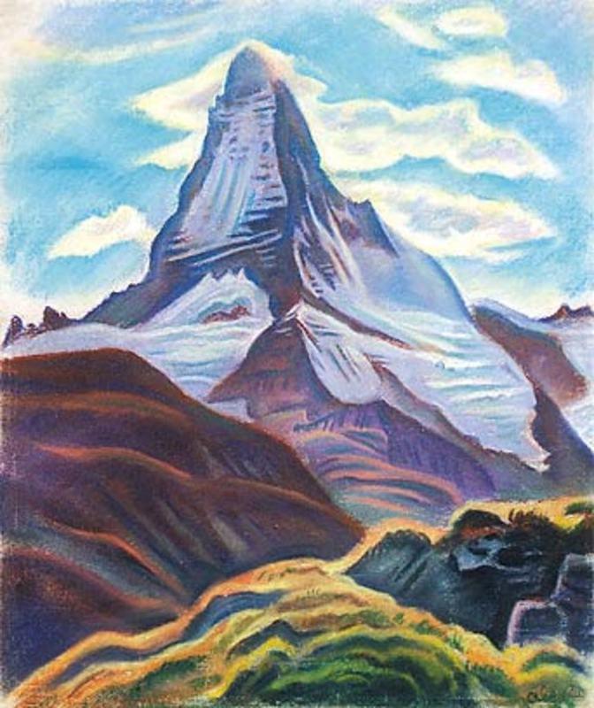 Theodor ALLESCH-ALESCHA - Dibujo Acuarela - Matterhorn von der Flueh Alp