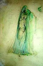 "Boris Israelewitsch ANISFELD - Disegno Acquarello - ""Blue Bird"". Costume of Water"