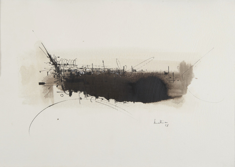 Georges MATHIEU - Dibujo Acuarela - Composition 58