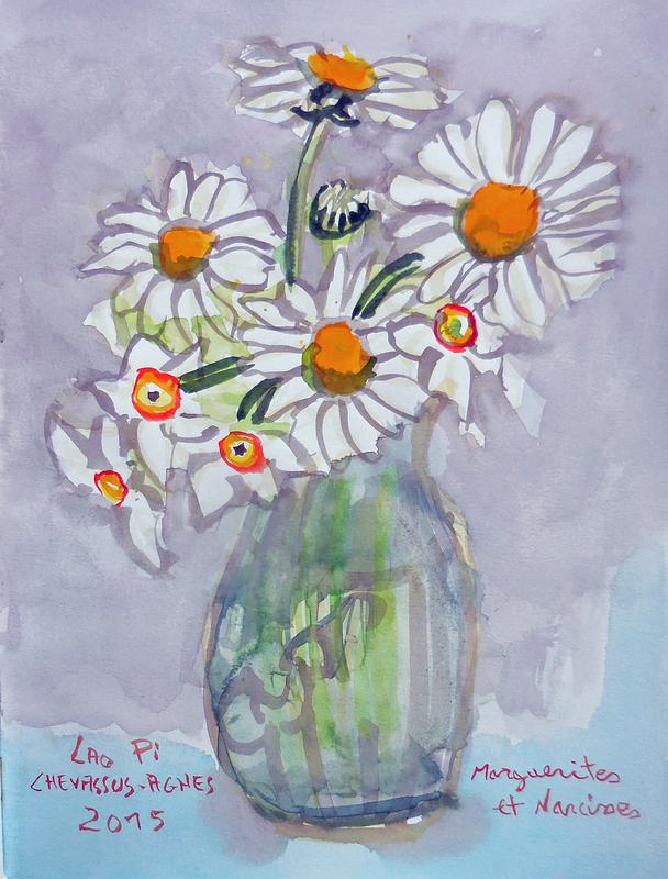 Jean-Pierre CHEVASSUS-AGNES - Dessin-Aquarelle - bouquet de marguerites et narcisses