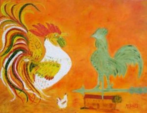 Marie-France BUSSET - Gemälde - Le Coq de Poulailler et le Coq de Girouette