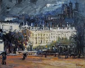 Gilbert PECOUD - Painting - Orage sur Bellecour