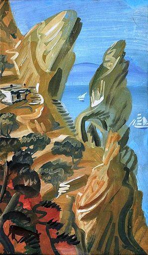 Alexander Evgenevich IACOVLEFF - Painting - PAYSAGE DE CAPRI