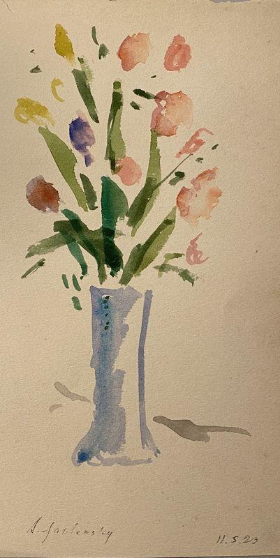 Alexej VON JAWLENSKY - Drawing-Watercolor - Blumen in vase