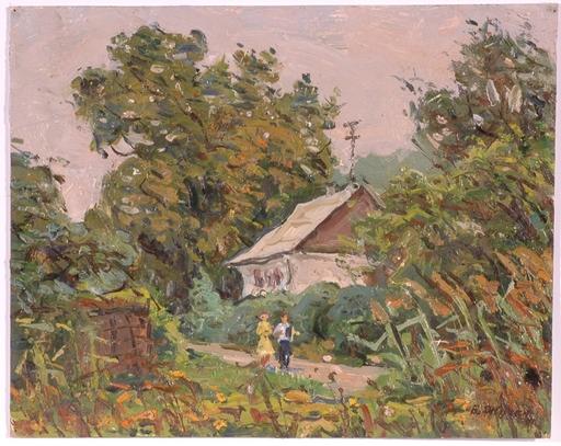 "Vladimir Aleksandrovich ZHUGAN - Pittura - ""Village Scene"", Oil Painting, 1971"