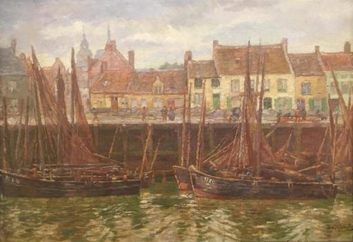 Emile CHARLET - Pintura - Le Quai De Nieuport (ca.1895)