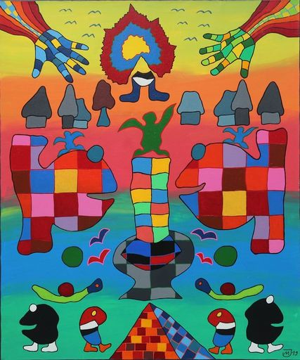 Michael JANSEN - Painting - Eine Welt vor dem Regenbogen