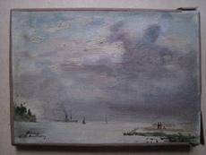 André HAMBOURG - Painting - HONFLEUR LA DIGUE