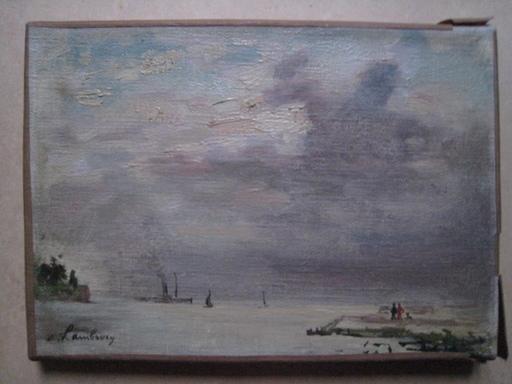 André HAMBOURG - Pintura - HONFLEUR LA DIGUE