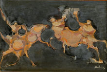 Alfred ABERDAM - Pintura - Horses and Riders, 1959