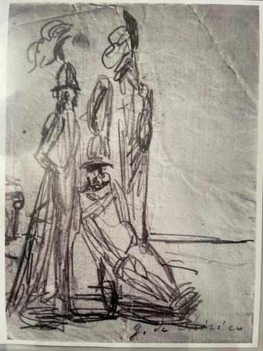 Giorgio DE CHIRICO - Zeichnung Aquarell - Guerrieri su una spiaggia