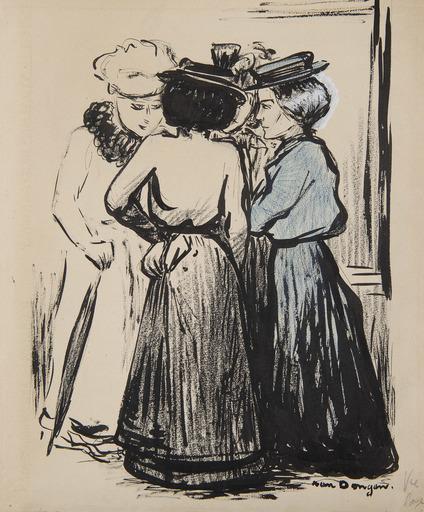 Kees VAN DONGEN - Drawing-Watercolor - Les commères