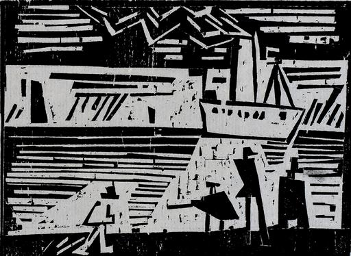 Lyonel FEININGER - Grabado - Steamboat Odin | Dampfer Odin