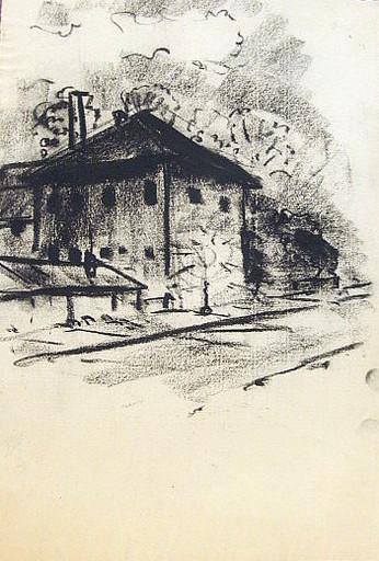 Friedrich EINHOFF - Drawing-Watercolor - #19999: Laterne vor Bahnhof.