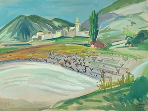 Roger WORMS - 水彩作品 - Paysage de la Drôme à Novezan Venterol