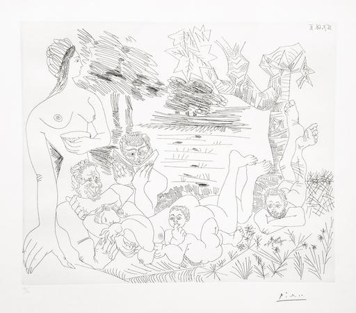 Pablo PICASSO - Stampa-Multiplo - Scène pastorale poussinesque sur le thème de pan et syrinx
