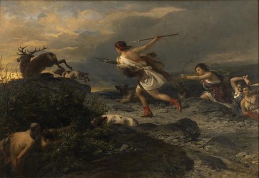 Nikolaus BAUR - Painting - Diana the Huntress