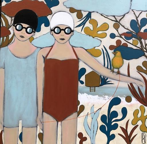 Raoul P. BROSSEAU - Painting - Le fil à la patte