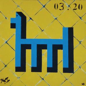 Harry BARTLETT FENNEY - Painting - whispers 4 (blue dog)