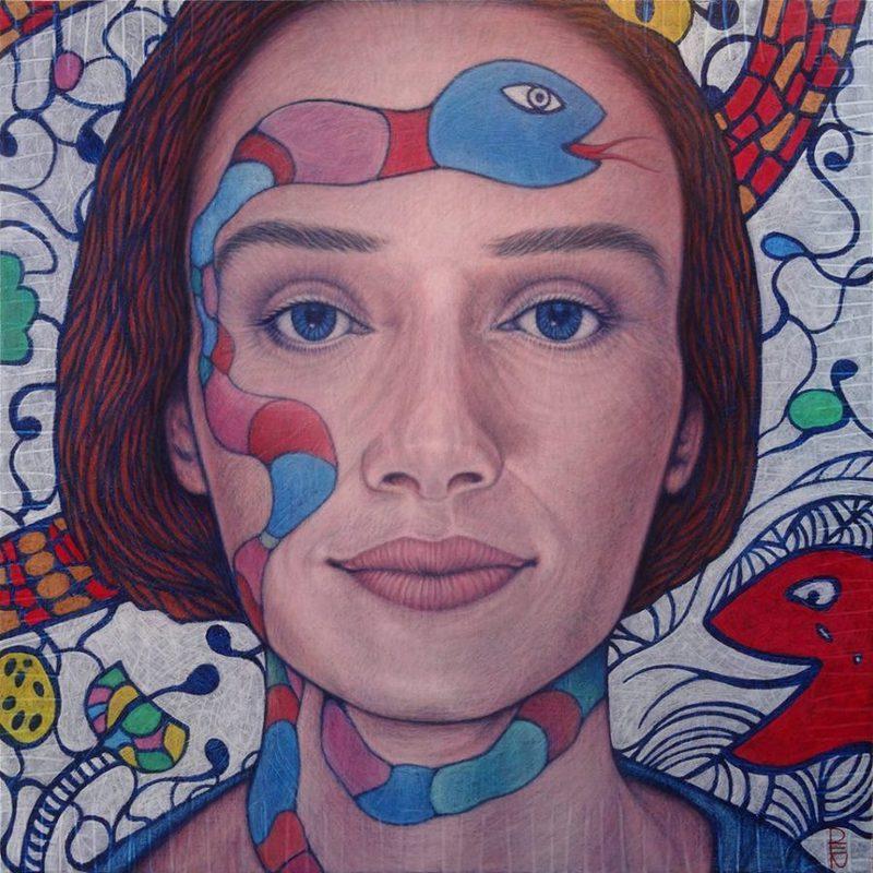 DEN GUITTO - Pintura - FACE à FACE avec Niki de Saint Phalle