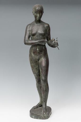 Octavio VICENT - Sculpture-Volume - Figura femenina con una flor en la mano.