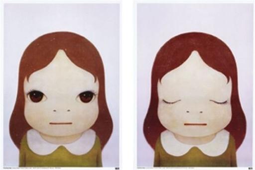 Yoshitomo NARA - Print-Multiple - Cosmic Girls (Open Eyes / Closed Eyes) set of 2