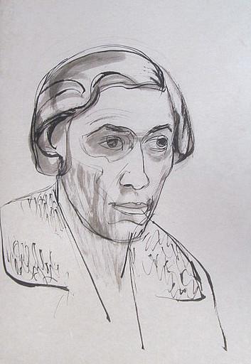 Erich HARTMANN - Disegno Acquarello - #19825: Frauenkopf.