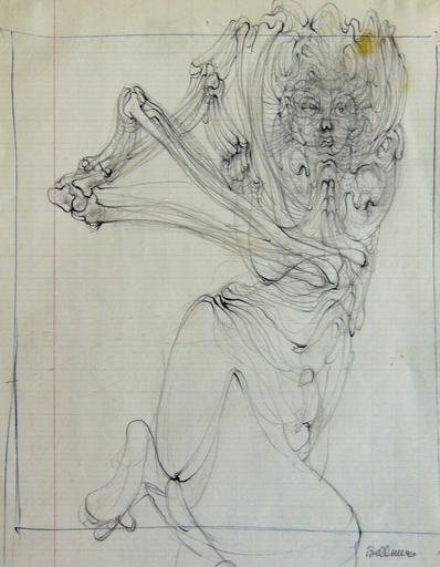 Hans BELLMER - Dibujo Acuarela - Woman with Skeleton | Femme au Squelette