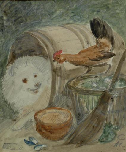 Henriette RONNER - Disegno Acquarello