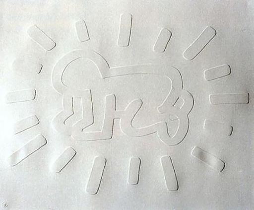 Keith HARING - Estampe-Multiple - White Icons- Radiant Baby