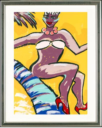 Elvira BACH - Stampa-Multiplo - Frau in einem Bikini mit roten Pumps