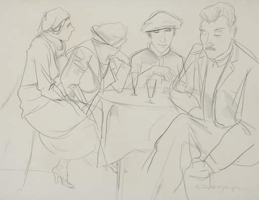 Rudolf SCHLICHTER - Dessin-Aquarelle - Im Kaffeehaus, Tischrunde