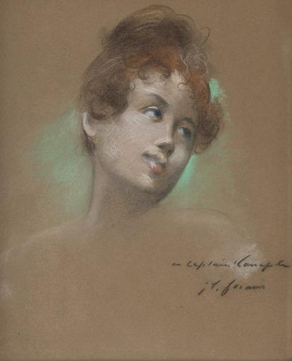 Jean-Louis FORAIN - Drawing-Watercolor - Portrait de jeune fille