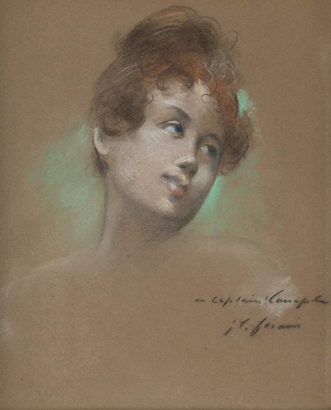 Jean-Louis FORAIN - Dessin-Aquarelle - Portrait de jeune fille