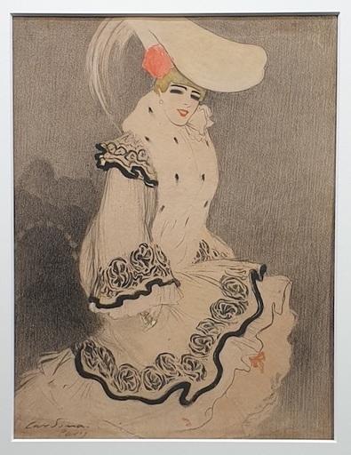 Joan CARDONA LLADOS - Dibujo Acuarela - dama con sombrero - Paris