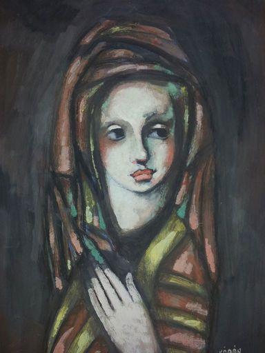 Béla KADAR - Peinture - Portrait of a Girl