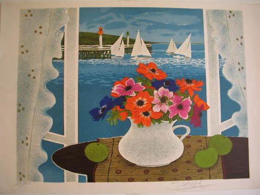 """Yves GANNE - Grabado - """"Bouquet de fleurs et voilier,1983"""""""