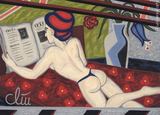 Jacqueline DITT - Painting - Reading the News (Die Nachrichten lesend)