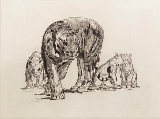 Paul JOUVE - Grabado - Tigresse et ses petits