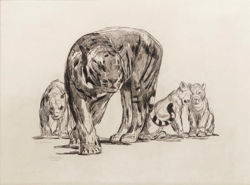 Paul JOUVE - Stampa Multiplo - Tigresse et ses petits