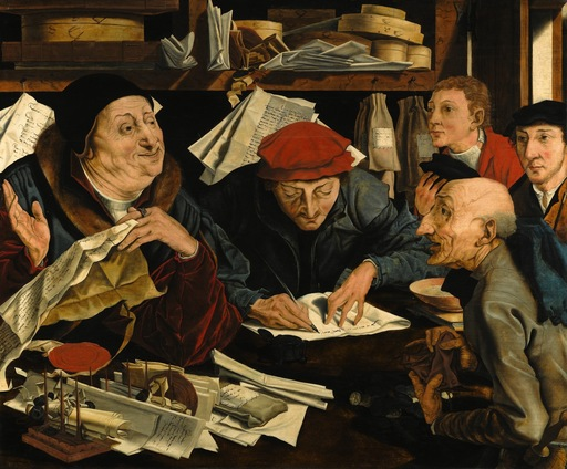 Marinus VAN REYMERSWAEL - Pittura - Marinus Reymerswaele, studio of A Tax Gatherer with his Cler