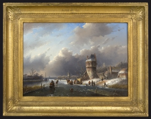 Jan Jacob SPOHLER - Peinture - Winter Day on a Frozen Dutch Canal