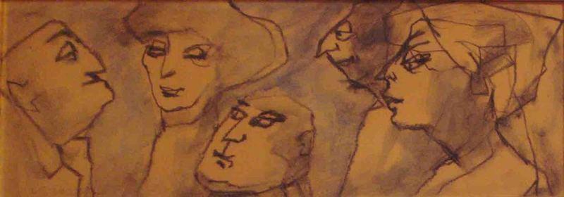 Mino MACCARI - Dibujo Acuarela - Figure