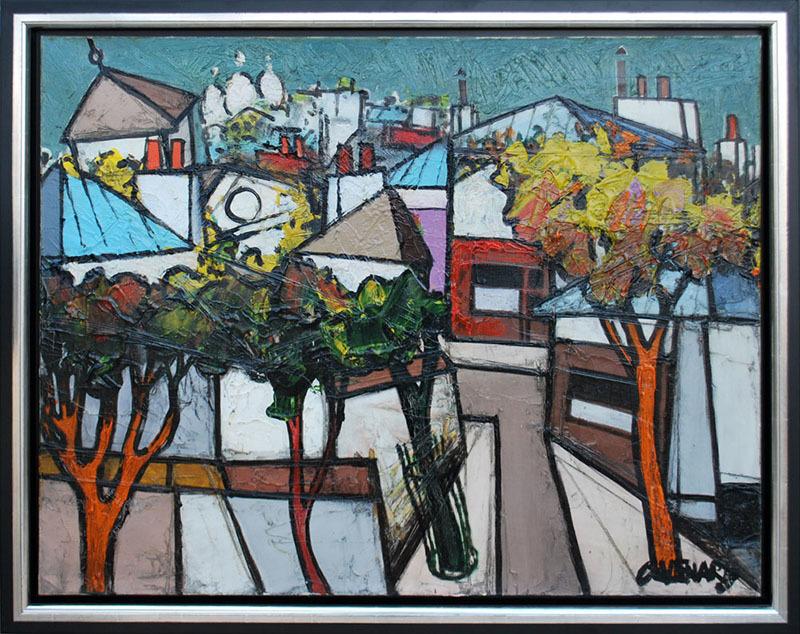 Claude VENARD - Painting - View of Montmartre