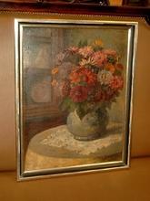 Heinrich TERVOOREN - Painting - Blumenstilleben mit Dahlien