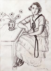 Henri MATISSE, La robe jaune au ruban noir