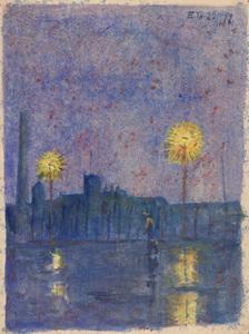 Ernst THOMS - Drawing-Watercolor - Ohne Titel (Leigh im nächtlichen Regen)