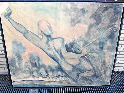 Heinrich STEINHAGEN - Pintura - Nackte Frau - Rückansicht - Amazone